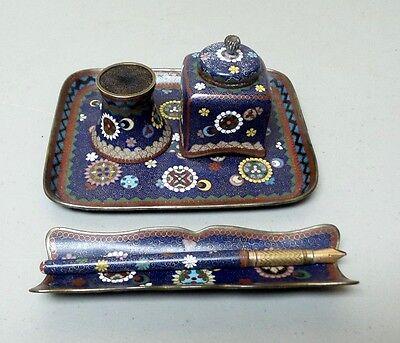 19th C. JAPANESE CLOISONNE DESK SET, PEN (14 K NIB), TRAY, INKWELL (5-Pc)