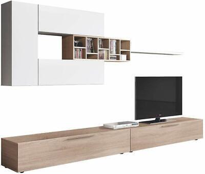 Parete attrezzata Santa Lucia bianco rovere mobile TV soggiorno sala da pranzo