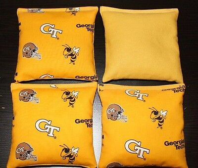 GEORGIA TECH YELLOW JACKETS 4 CORNHOLE BEAN BAGS BAGGO GAME Quality Handmade!