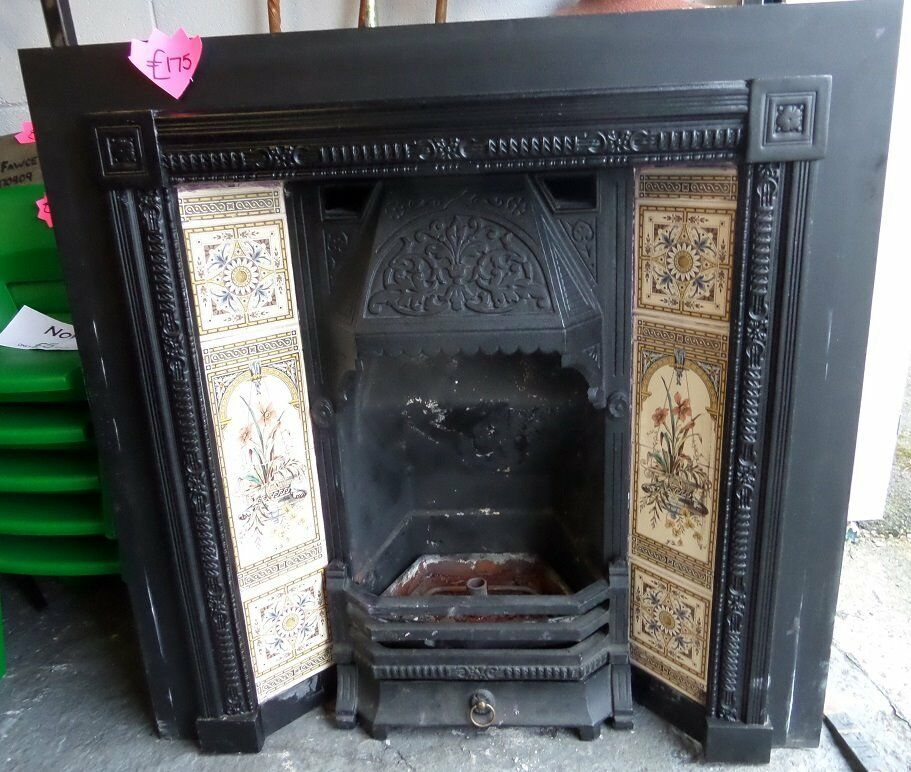 Beautiful Vintage Cast Iron Fire Insert with Tiles