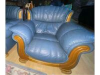 REDUCED Stunning real leather armchair in soft dark blue REAL leather