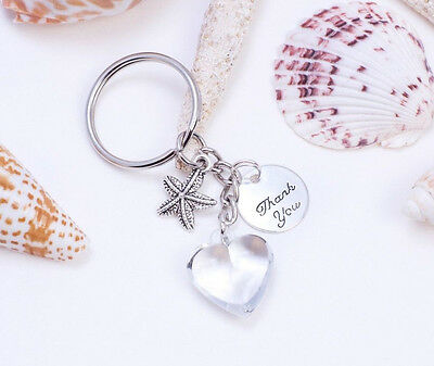 Beach -Tropical Wedding Key chain Heart & Star Charm Thank You Favors Decoration