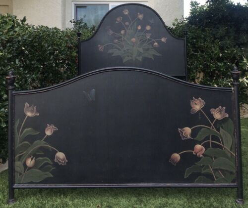 ANTIQUE EUROPEAN TOLE HAND PAINTED BED Floral Tulip Butterfly black multi 59.5""