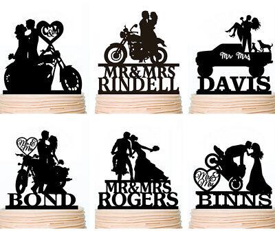 Personalised Rustic Motorcycle Wedding Cake Topper Motorbike Bike Decorations (Wedding Cake Toppers Rustic)