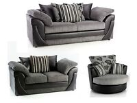 *48 HOUR DELIVERY*£499*FABRIC LUSH CORNER SOFA /3 + 2 SEATER/CUDDLE CHAIR BLACK GREY BROWN BEIGE