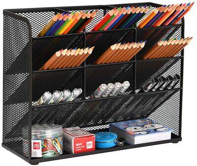 Mesh Desk Organizer Office Home Pen Pencil Holder Sorter Storage Desktop Black