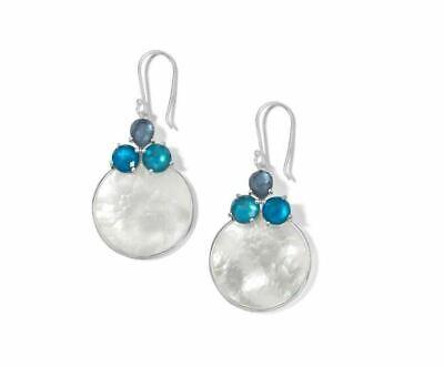 IPPOLITA 925 Silver Wonderland 3 Stone Drop Earrings Mother of Pearl Blue Moon
