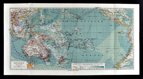1900 Meyers Map Pacific Ocean Oceania Australia New Zealand Hawaii America Asia