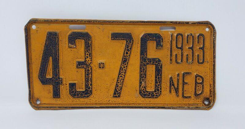 Vintage / Antique 1933 Nebraska License Plate - Colfax County - 43-76