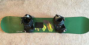 "144"" fusion snowboard with women's Sims bindings"