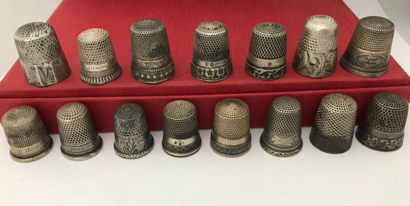 ANTIQUE STERLING SILVER THIMBLE LOT COLLECTION 15 MIXED DESIGNER HALLMARKS
