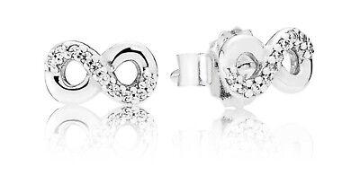 Genuine Pandora Infinity Love Sterling Silver Stud Earrings - 290695CZ