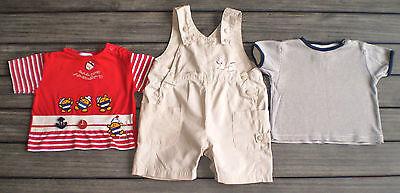 JOLI LOT SALOPETTE POMME FRAMBOISE + 2 T-SHIRT vêtement bébé 6 MOIS !!