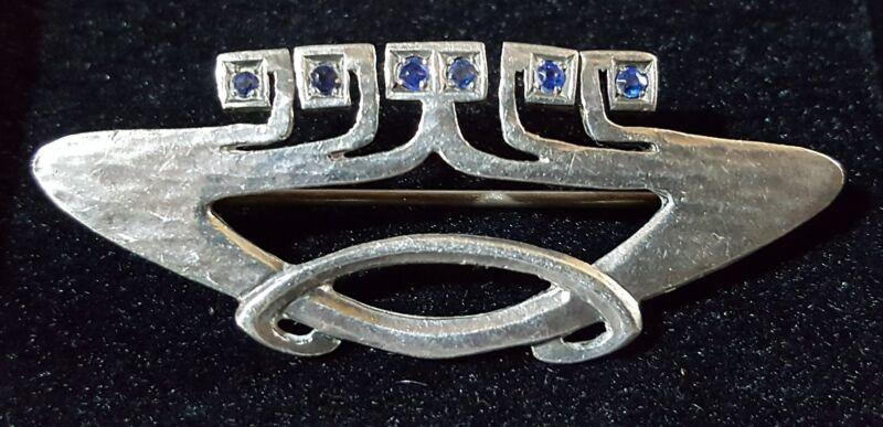 Ernst Bek sterling silver & sapphire vintage Art Nouveau antique brooch