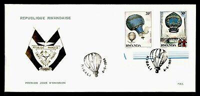 DR WHO 1984 RWANDA FDC BALLOON COMBO IMPERF  g20356