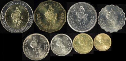 Libya 1 5 10 20 50 100 Dirhams, 1/4 & 1/2 Dinars (8 Pcs Coin Set), 1979 BU Unc