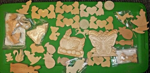 32 Vintage Wood Christmas Ornaments Lot Ready to Paint Set Unfinished Craft