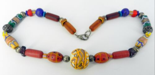 """GORGEOUS GLASS VINTAGE AFRICAN TRADE BEAD NECKLACE HAND PAINTED DECORATED 22"""""""
