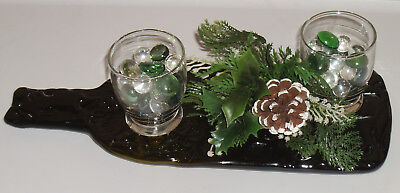 Flattened Melted Glass Wine Bottle Decroative Holiday Decor Display Platter Tray
