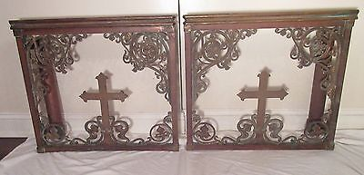 pair set antique ornate heavy bronze brass religious church altar crucifix gates