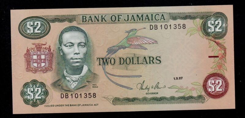 JAMAICA 2  DOLLARS  1989  DB PICK # 69b UNC.
