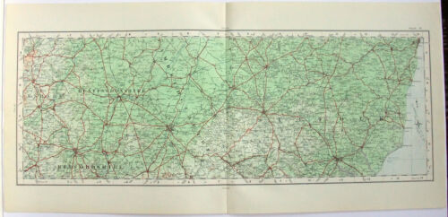 Huntingdonshire Bedfordshire Suffolk England - Original 1922 Ordnance Survey Map