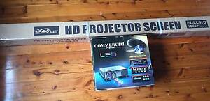 Brand new unused projector with screen Marrickville Marrickville Area Preview
