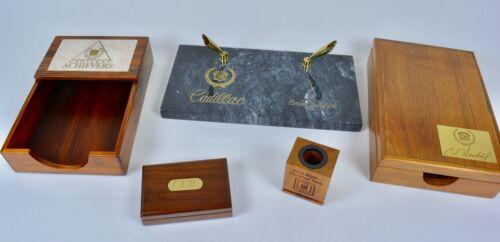 Cadillac GM Desk Set Marble Pen Stand Letter Box VTG Executive Exotic Hardwood