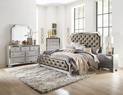 SILVER GRAY MIRRORED CRYSTAL TUFTED KING BED N/S DRESSER BEDROOM FURNITURE SALE ()
