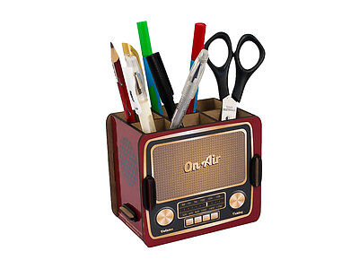 Vintage Radio Box Pencil Holder Office Desk Organizer