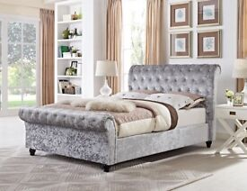 *SAME DAY CASH ON DELIVERY* BRAND NEW CRUSHED VELVET SLEIGH DOUBLE BED FRAME IN BLACK, GOLD & SILVER