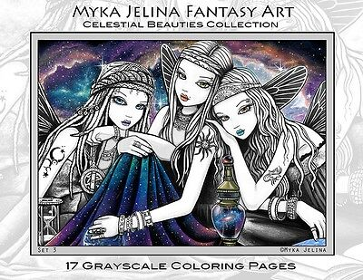 Myka Jelina Art Coloring Pages Celestial Beauties Star Fairy Boho Grayscale Set3