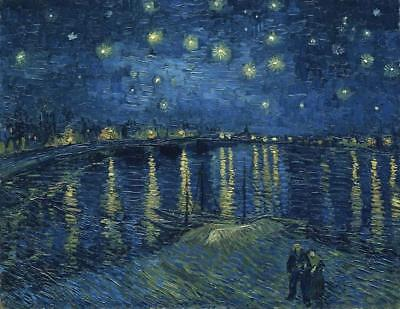 (Canvas Print Wall Art Starry Night Over the Rhone Van Gogh Painting Repro Framed)