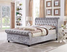 """Chesterfield (5' x 6'6"""" King) Sleigh Designer Bed in Silver Crushed Velvet"""