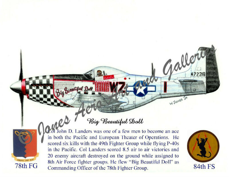 "78FG Col John Landers P-51D ""Big Beautiful Doll"" Giclee print by Willie Jones"