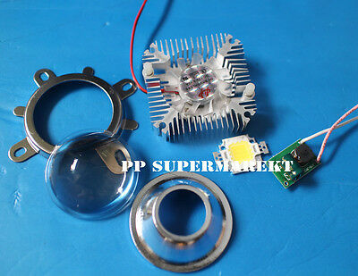 Round Hole 44mm Lens Kit 10w Cool White Led 10watt Driver 10w Heatsink Diy