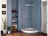Corner Shower base and doors x2