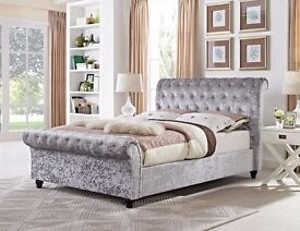 *** SINGLE DOUBLE KING BED *** NEW CRUSHED VELVET SLEIGH DESIGNER BED WITH MATTRESS