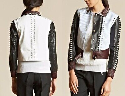 J W Anderson First Runway £1800 Leather Eyelet Jacket With Cotoon Stripe UK XS