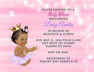 Custom Personalized Baby Shower Invitations SKIN TONE TUTU COLOR CAN BE CHANGED Customized Baby Shower Invitations