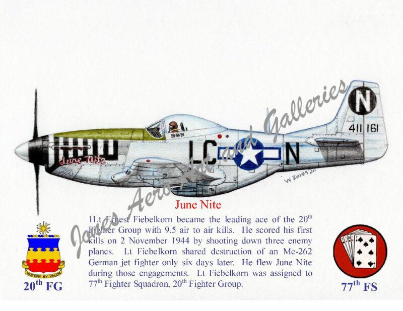 "20FG 1Lt Ernest Fiebelkorn's P-51D ""June Nite"" Giclee prints by Willie Jones Jr"