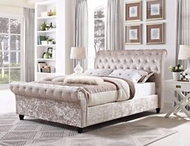 BRAND NEW SLEIGH DESIGNER CRUSH VELVET DOUBLE BED ALL SIZE AVAILABLE SINGLE KINGIZE