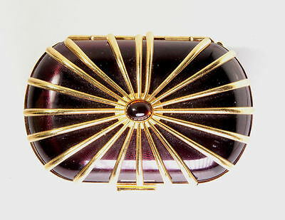 Gorgeous Vintage Revlon burgundy gold tone compact with mesh and mirror