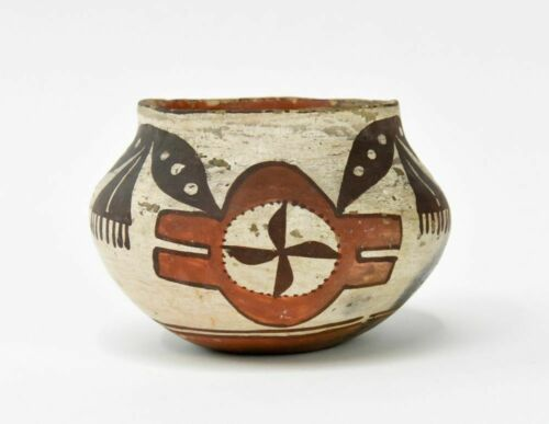 "Historic Acoma -Laguna Pueblo polychrome pottery jar; ca. 1900,  4"" x 5 1/4"""