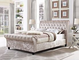SameDay Express Delivery 7 Days a week Good Quality Crushed Velvet Bed Single/Double Bed King