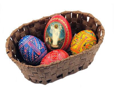 Easter Basket Ukrainian Wooden Eggs Pysanky Resurrection of Christ Red Icon Egg  - Wooden Easter Baskets