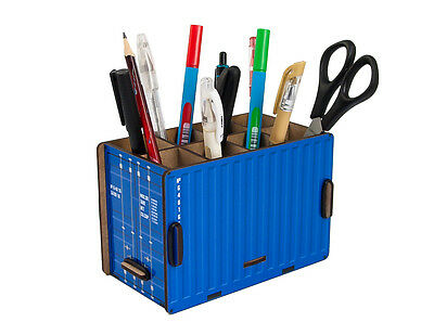 Container Box Blue Pencil Holder Office Desk Organizer