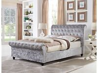 🌷💚🌷SPECIAL OFFER🌷💚🌷 ASTRAL CRUSHED VELVET FABRIC SLEIGH DOUBLE SIZE BED FRAME BLACK / SILVER