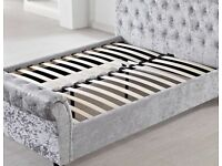 Best Quality-Sleigh Crush Velvet Bed Frame In Multiple Colors-cash on delivery