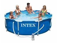 Intex metal framed 10ft swimming / paddling pool in excellent condition